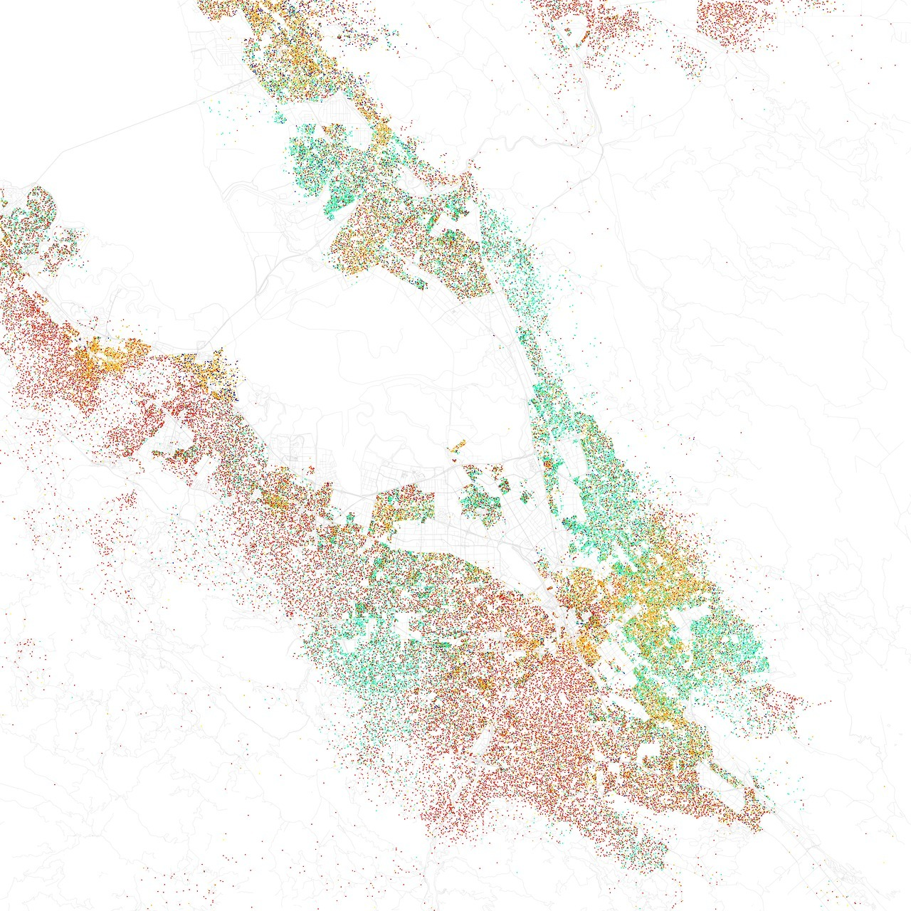 Eric Fischer's map of race and ethnicity in the South Bay, based on 2010 census data. Fischer has also created similar maps for about 100 other metropolitan areas. Red = non-Hispanic white, yellow = Hispanic, light green = Asian, blue = African-American. Each dot is 25 residents.