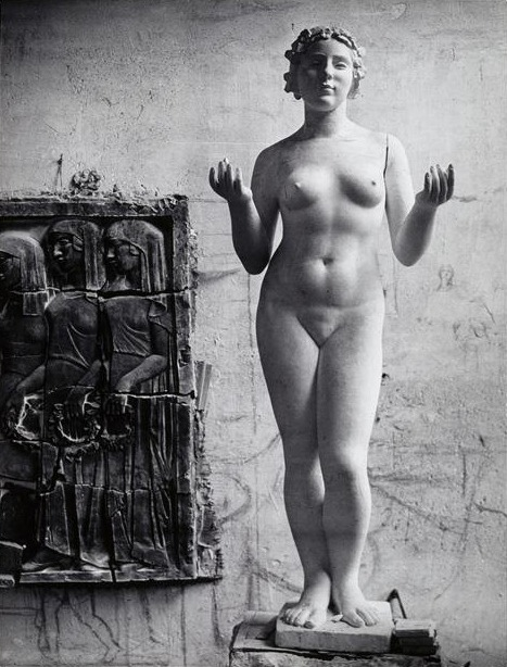 "elysskama:   Brassaï - One of the ""Three Nymphs"" in the workshop of Aristide Maillol, Marly-le-Roi, 1914"