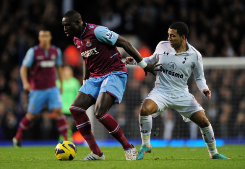 Aaron Lennon takes on West Ham's Mohamed Diame in a game which currently stands 3-0 to Tottenham Hotspur with just under 20 minutes left.