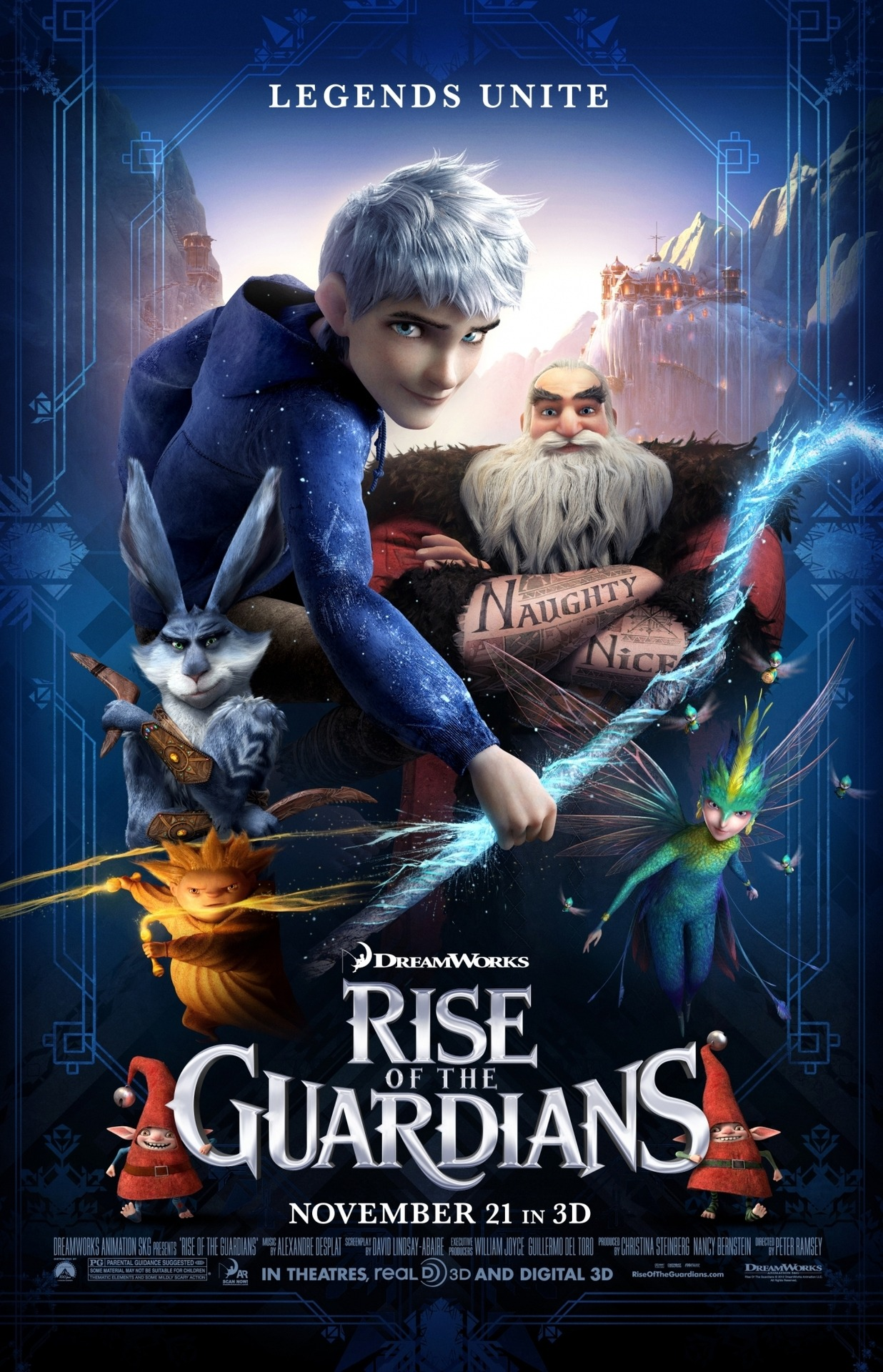 Rise of The Guardians Cool! Santa! Easter Bunny! Tooth Fairy! Sandman! Jack Frost! Yetis! Elves! Boogeyman! It was a fun and interesting movie.