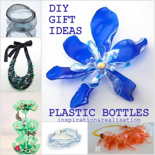 Roundup of Recycled Plastic Bottle Gifts Tutorials from inspiration & realisation here. Donatella has lots of categories to choose from:  Jewely Jewely Components (check out the twisted jewelry wire) Home Decor Holiday Decorations Useful Things (love the yarn organizer) Also see: Recycled Water Bottle Boot Shapers Tutorial from …Love Maegan here, andPlastic Bottle Guitar here.