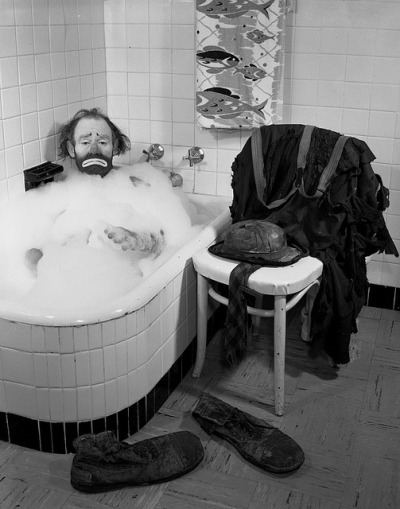 Ringling Circus clown Emmett Kelly in a bubble bath: Sarasota, Florida by State Library and Archives of Florida on Flickr.