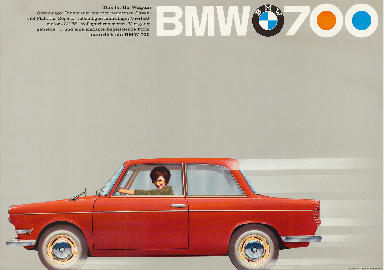 BMW 700 vintage advertising poster.