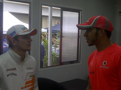 ilooovef1:  @TheFifthDriver: Nico Hulkenberg visits the hospitality area to apologise to a gracious @LewisHamilton, in Rocket Red. #RocketRedBrazil