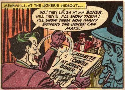 cryptofwrestling:  Panel from a Batman comic (1950s) Jokerbone.