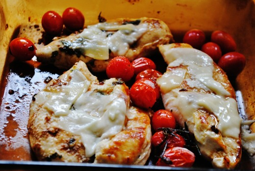 balsamic roasted tomato basil chicken with parmesan for lunch! served with lemon garlic roasted potatoes and broccoli :)