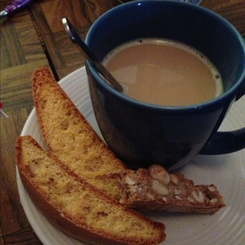 Starting my day late with some coffee and biscotti. :]