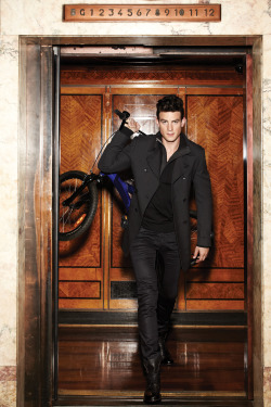 Australia / Calibre Fall Winter 2012, Black Peacoat and Laceup Boots