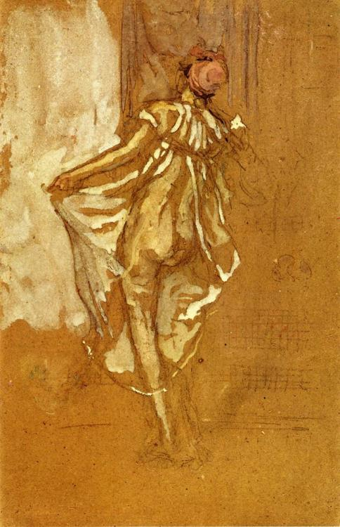 James McNeill Whistler, A Dancing Woman in a Pink Rober Seen from the Back, 1888. Charcoal and gouache on paper, 23 x 71.12 cm.