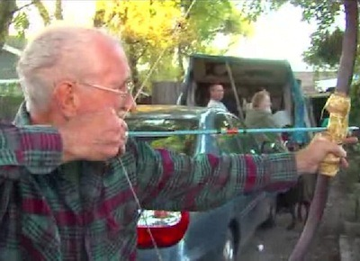 "Old dude fends off would-be burglars with bow and arrow. Best ""Get Off My Lawn"" ever, and possibly the plot of Gran Torino II. STORY HERE."