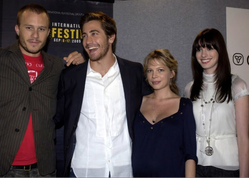Heath Ledger, Jake Gyllenhaal, Michelle Williams and Anne Hathaway at the Toronto Film Festival for Brokeback Mountain in 2005