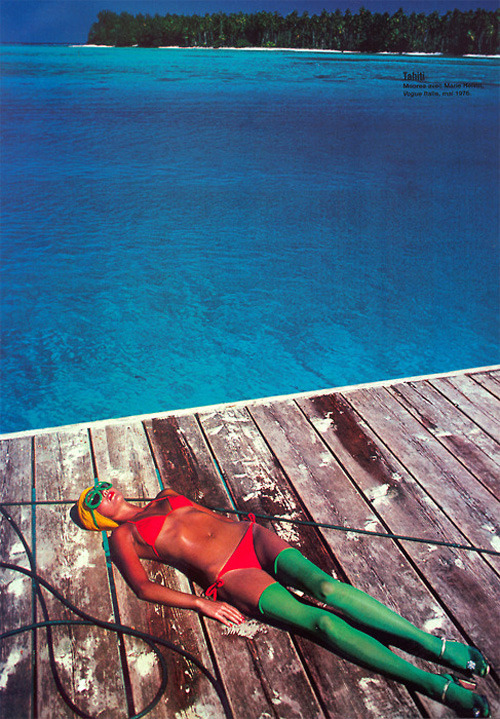 pussylequeer:  Marie Helvin in Tahiti photographed by David Bailey in 1976