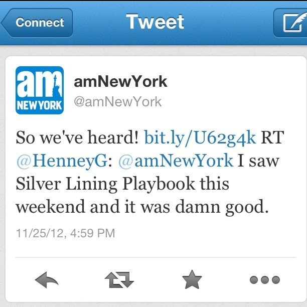 amNewYork retweeted me. #twitter #tweet #comment #silverliningplaybook #movie #weekend #boxoffice #question