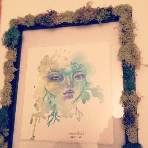 The experiment continues… #moss frame #girl #lichen #art #illustration #mumbot