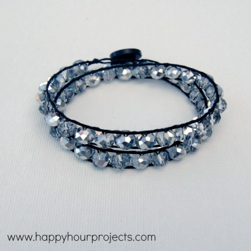 DIY Double Wrapped Sparkly Bracelet with Button Closure Tutorial from Happy Hour Projects here. I've posted bracelets similar to this before, but Adrianne's instructions are always so  easy to follow.