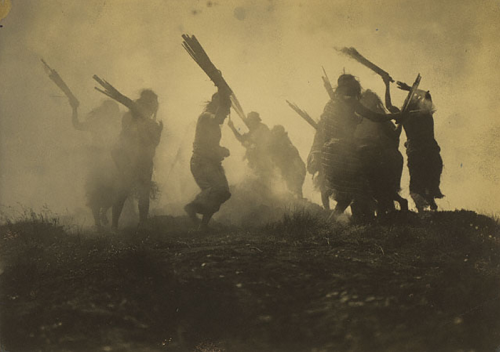 cavetocanvas:   Edward S. Curtis, The Eclipse Dance, 1910-14 From the Getty Museum:   Dance is an integral component of most cultures and very often serves as a form of religious, social, and artistic expression. The Pacific Northwest coast Kwakiutl tribe, shown here, were especially noted for their elaborate ceremonies, often involving dance. From 1896 until 1930, Edward Curtis engaged in a project to document Native American peoples. He made more than forty thousand negatives, most of which were glass plates. He published the resulting work in a series of twenty volumes titled The North American Indian, the largest volume of which was devoted to the Kwaikutl and their customs.