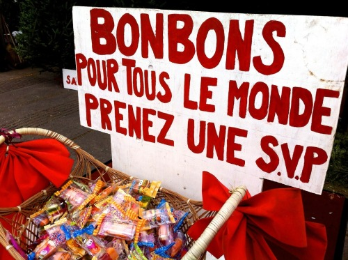 "Taken in Montreal last December, at Jean-Talon market. ""Candy for everyone: take one, please."""