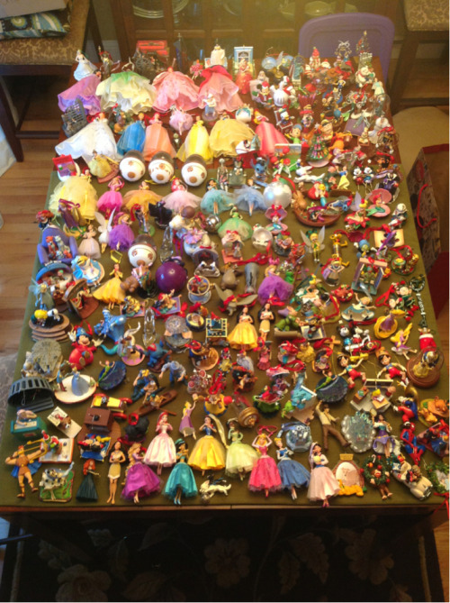 All my Disney Store and Hallmark ornaments! Give or take a few
