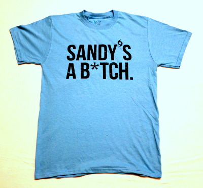 Sandy's a B*tch. Super Storm Sandy has damaged much of the Eastern Seaboard and left many lives and families out in the cold. Many people have been left without water, power, or basic necessities. RTW Trading Co. is teaming up with Cloud Nine Clothing, Consurv.us and Free Dirt Apparel, to sell a special edition t-shirt to raise money and hope for the relief of Super Storm Sandy. A portion of the proceeds of each shirt is donated to the American Red Cross's Hurricane Sandy Relief. Do some good and get an awesome tee in the process!
