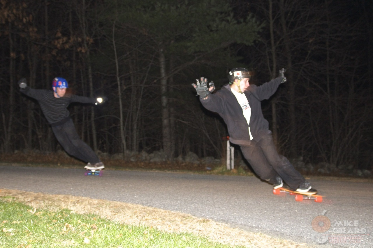 Nighttime tandem toeside checks. Graham (front) and I toeside checking a fun local corner by headlight. Photo: Rachael Martin. -MG