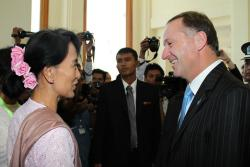 John Key looks at civil rights hero.
