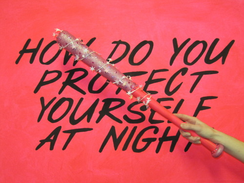 "lady-brain:  ""HOW DO YOU PROTECT YOURSELF AT NIGHT"" + glittered sequined bat"
