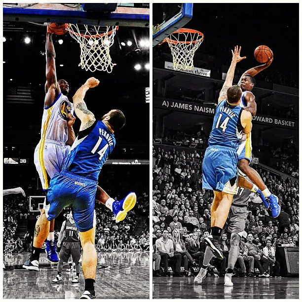 Photo: Harrison Barnes throws it down over Nikola Pekovic. (Photos via @RHurstDesigns)