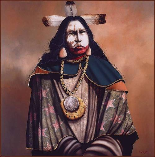 "A native american shaman or also known as a ""medicine man"".  Shamans are spiritual healers and can move freely from the spirit world back to ours.  They move into and interact with the spirit world for aid, guidance, healing, or any other type of work that the spirits are needed."