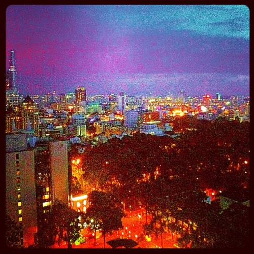 Sunset Happy Hour at Shri with panoramic views of Ho Chi Minh City/Saigon - thank you, Lonely Planet!!