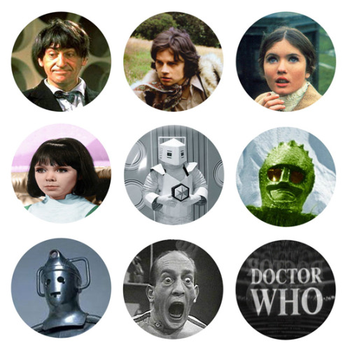 DOCTOR WHO 2nd Doctor Patrick Troughton Set of 9 - 1 Inch Pinback Buttons Pins Badges - $3.99 25% OFF SALE! SUNDAY FUNDAY NOVEMBER 25TH 2012! - Use the coupon code SUN25 at checkout to receive 25% off your order!