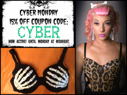 pinmeupp:  cyber monday coupon code for 15% off: CYBERwww.PinMeUpAccessories.etsy.comWhat to expect: skeleton bras, bone earrings, bone hair clips, vintage clothes, rockabilly flowers, painted skulls, and cheap jewelryI'd love you if you could help me out with some reblogs :) ty <3   I'm in (: