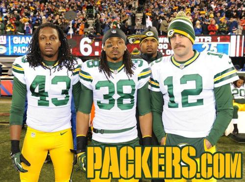 2012 Week 12: @ New York Giants Left to right: M.D. Jennings, Tramon Williams, Aaron Rodgers Background: Charles Woodson