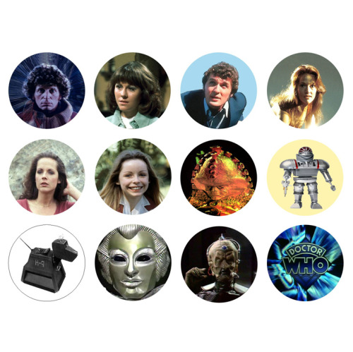 DOCTOR WHO 4th Doctor Tom Baker Set of 12 - 1 Inch Pinback Buttons Pins Badges - $4.99 25% OFF SALE! SUNDAY FUNDAY NOVEMBER 25TH 2012! - Use the coupon code SUN25 at checkout to receive 25% off your order!