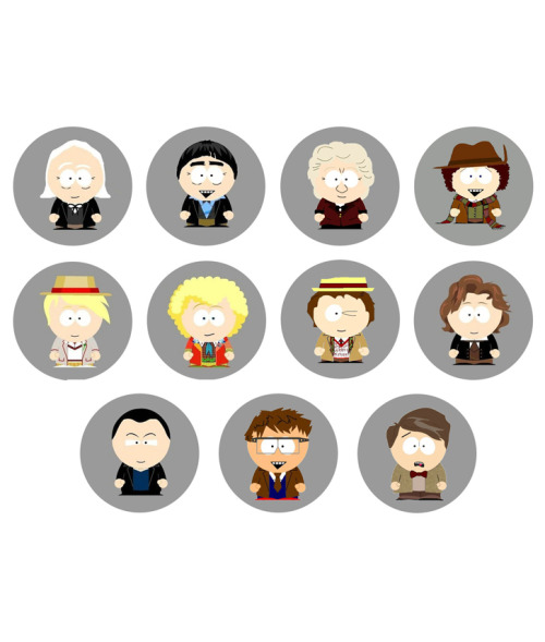 DOCTOR WHO South Park Drs Set of 11 - 1 Inch Pinback Buttons Pins Badges - $4.99 25% OFF SALE! SUNDAY FUNDAY NOVEMBER 25TH 2012! - Use the coupon code SUN25 at checkout to receive 25% off your order!