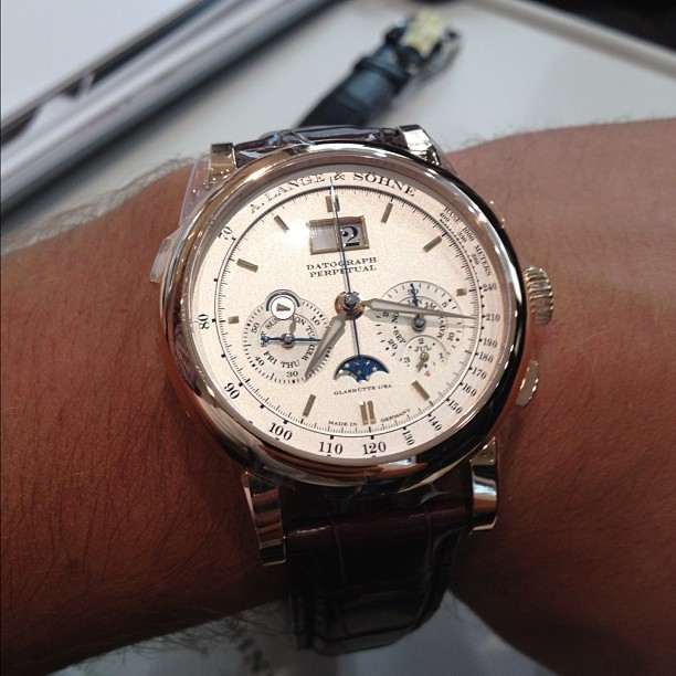 theversatilegent:  Checking out the Lange range at Watches of Switzerland. #alangeandsohne #lange #horology #datograph #perpetual #gold