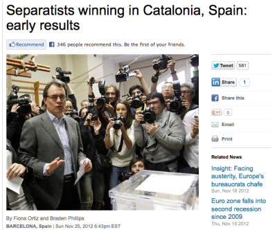 There Was A Crucial Vote In Spain Today — And Spanish And English Media Saw It Very Differently Joe Weisenthal, businessinsider.com The Span­ish region of Cata­lan had an elec­tion today, which was seen as a quasi-referendum on inde­pen­dence, which is an aspi­ra­tion of many in the wealthy Span­ish region. The basic gist is that pro-separatist parties did well, but the main party, which had run on a platform of moving forth with a real independence referendum, did very poorly. That subtlety is resulting in very different takes across media. For example, Reuters declares that the separatists had a big day FT declares that the region took a step towards independence, and that it's a major blow to Rajoy And WSJ declares that voters also strongly endorsed autonomy Now compare that to big Spanish media. It's instead focusing on how the election was a disaster for the main party, lead by Artur Mas, which lead[s] votes. […] So the world sees a strong showing for separatists overall, while Spanish media focuses on Mas's specific setbacks. Either way, it may be awhile before the political ramifications totally shake out, and it's unclear yet what this means for Spanish PM Rajoy, and whether he has the political capital to ask for a bailout.