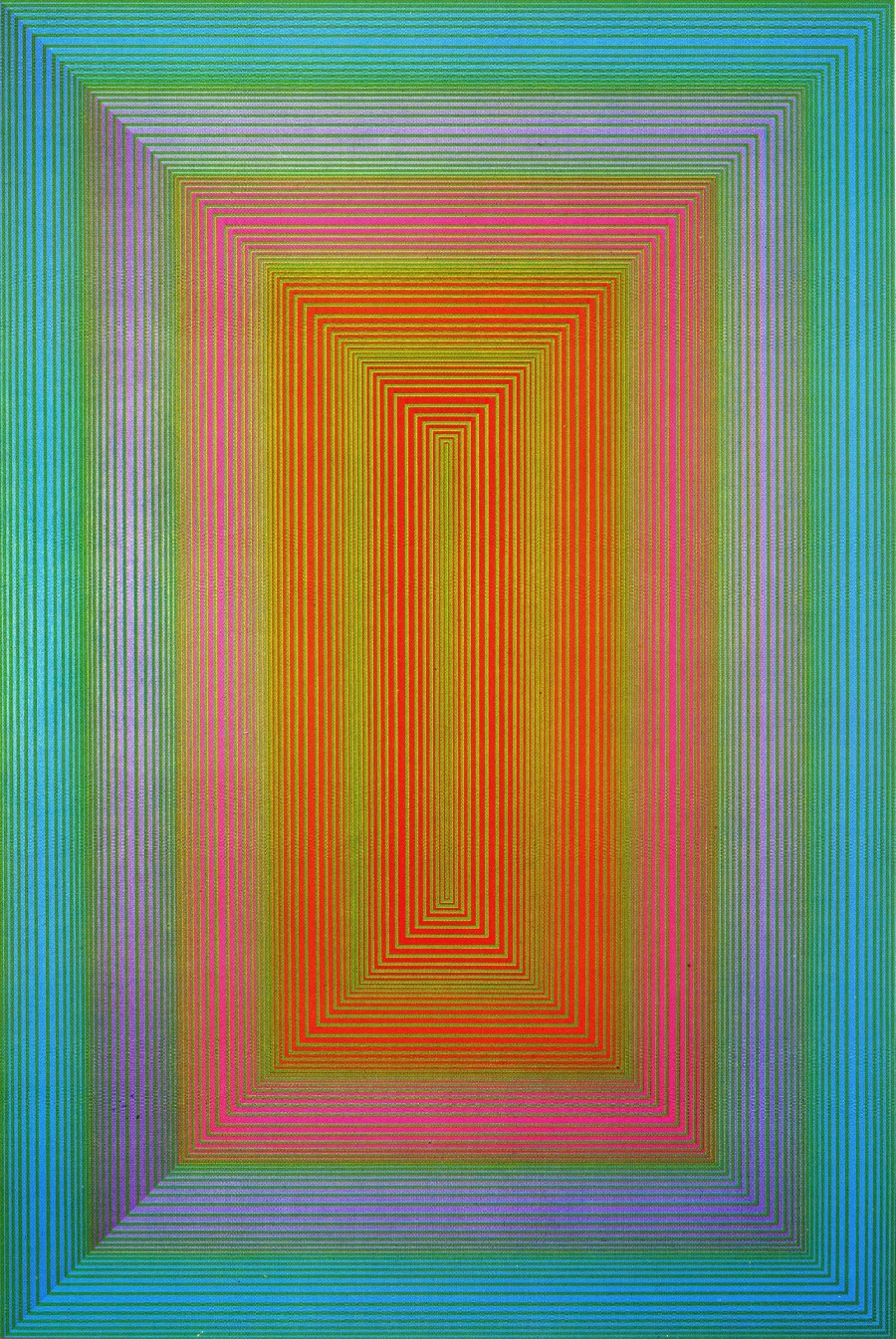 cresusjhist:  Richard Anuszkiewicz Entrance To Green, 1970