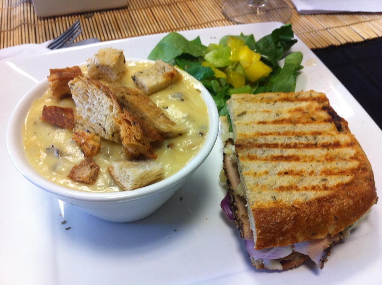 Tuscan Turkey Sandwich with soup