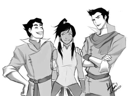 atlaobsession:  Legend of Korra - Trio Sketch 2 ~ LightSilverstar