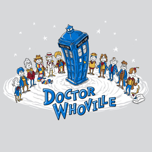 "Just in time for the WHO-lidays, an alternate version of my popular ""Doctor Whoville"" will soon be for sale at RIPTapparel.com. The original version, plus WHO-liday greeting cards are for sale in my own shop. PLUS, you could win a 4-pack of cards - just follow me and reblog this post to enter!"