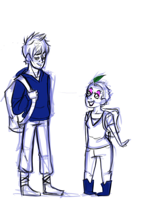 "zwtfanart:  Can I please have a highschool AU where Baby and Jack are BFFs and Baby is called that because she's so tiny and her mother, the sweet if not slightly disturbing school nurse Miss Tooth, calls her that. And Jack is always getting in trouble because the only teachers he gets along with is the woodshop teacher Mr.North and his weird TAs, and the school therapist Mr. ""Sandy"" Sandman, and he's always flirting fighting with Coach B and is sent to see the sexy scary vice-principal Mr.Black who always threatens him, but it doesn't actually worry Jack and he ends up bantering his way out of trouble or the VP just really likes him. And he and Baby are always doing something crazy and trying to get a peek at the never-seen Principal Moon and it could be pretty much any pairing and and… Can someone please write that for me please."