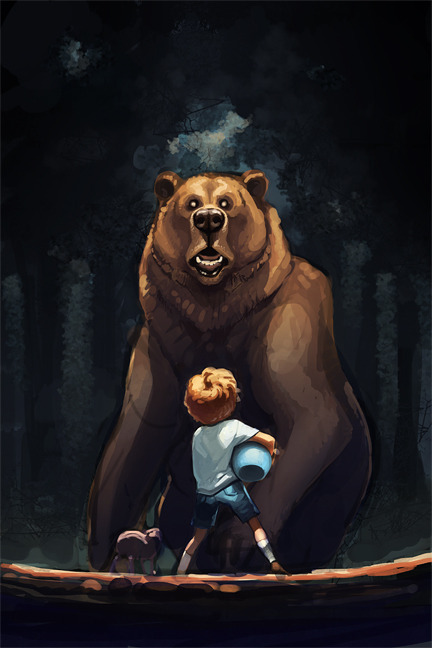 This was going to be Christopher Robin and Piglet and Terrifying Grizzly Winnie the Pooh, but I just can't finish any damn thing these days.