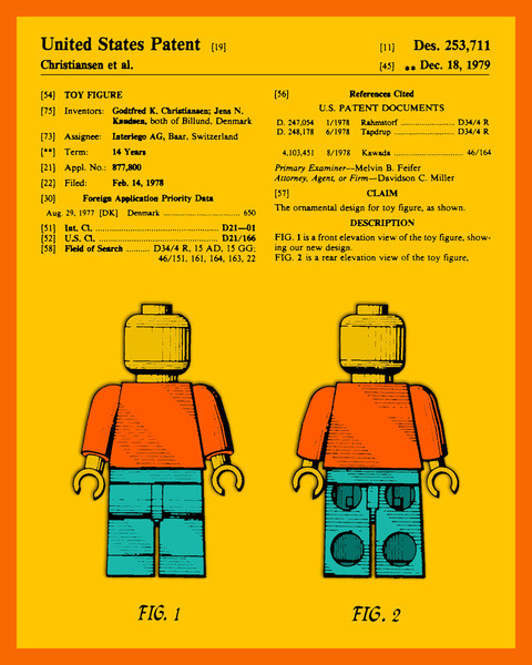 Official LEGO Man U.S. Patent Created by Jazzberry Blue Prints available at Society6.