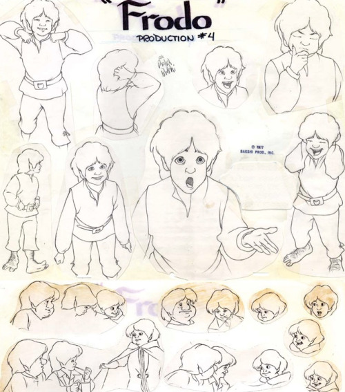 theanimationarchive:  Frodo model sheets for the animated version of The Lord of the Rings, (1978). Model sheets were drawn by Crystal Russell and were based on animations that were already completed.