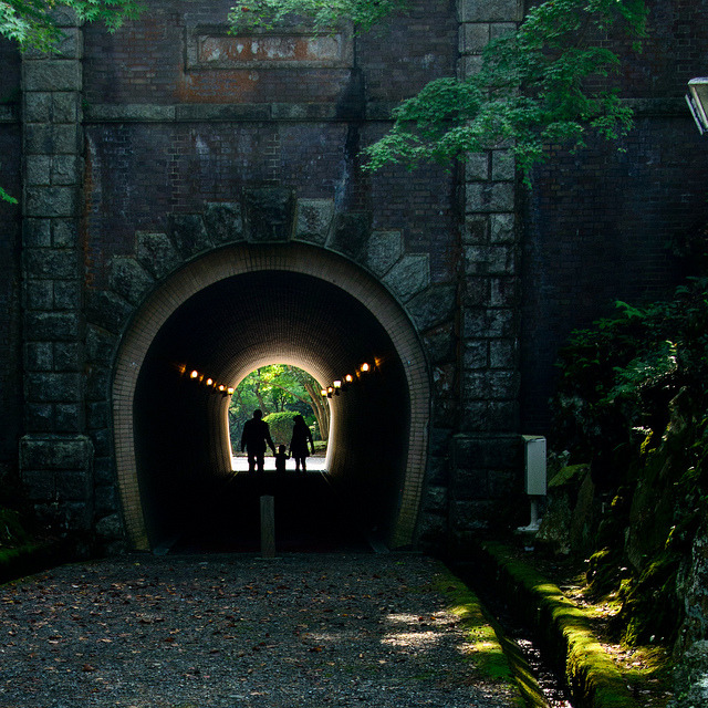 "japanlove:  old tunnel by Yosi Oka on Flickr.  Like the passageway to the spirit world in ""Spirited Away""!"