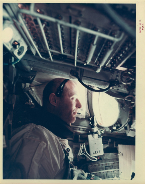 goodluckmrgorsky:  Astronaut Thomas P. Stafford, command pilot of the Gemini 9-A space flight, is photographed during the Gemini 9 mission inside the spacecraft by Astronaut Eugene Cernan, Gemini 9 pilot.