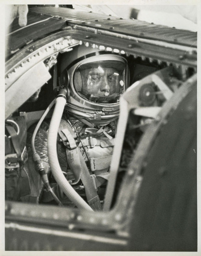 "goodluckmrgorsky:  View of Astronaut Alan Shepard inside Freedom 7 spacecraft in preparation for the Mercury-Redstone-3 flight. This shot was taken just before the hatch was sealed during final countdown at Launch Pad 5 at the Cape.  ""Dear Lord…"""