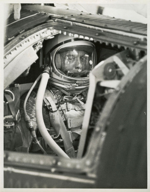 View of Astronaut Alan Shepard inside Freedom 7 spacecraft in preparation for the Mercury-Redstone-3 flight. This shot was taken just before the hatch was sealed during final countdown at Launch Pad 5 at the Cape.
