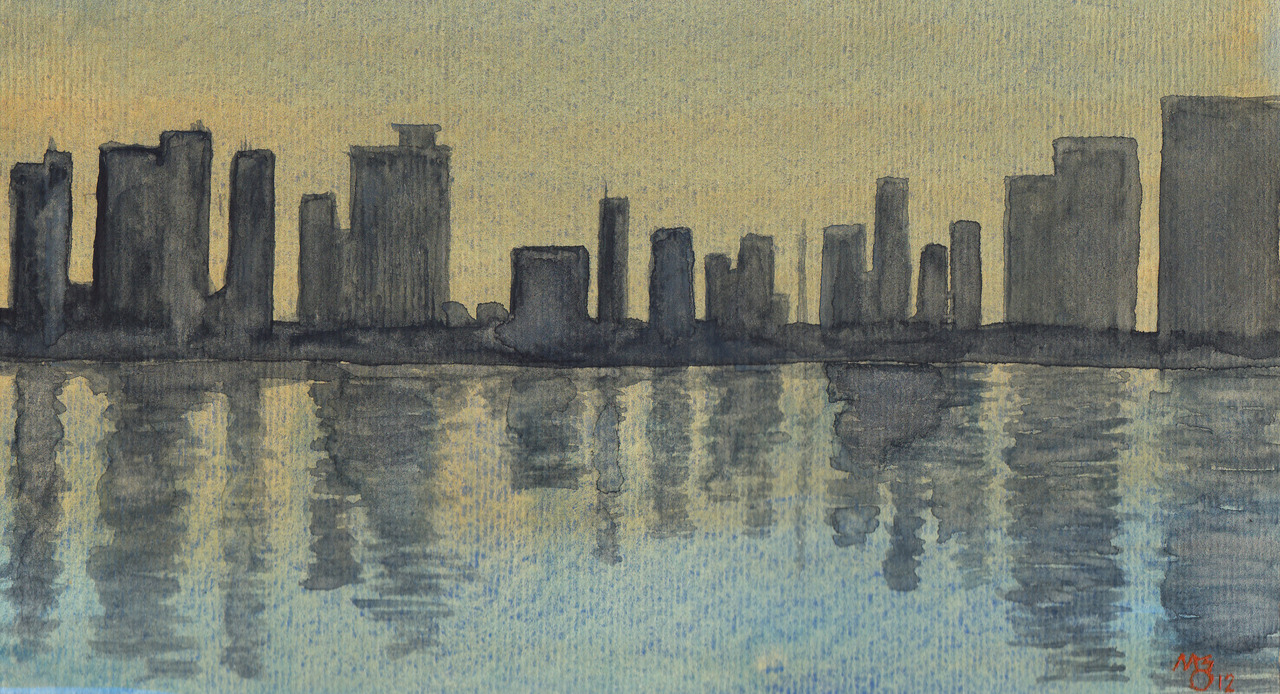 "Orange Wash #5 City on the water in the last few moments before sunset.  9""x4.5"""
