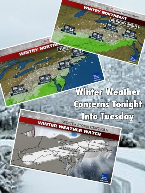 Winter Weather Concerns Tonight Into Tuesday in the Mid Atlantic And NE.